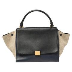 Celine Tri Color Leather and Canvas Medium Trapeze Bag