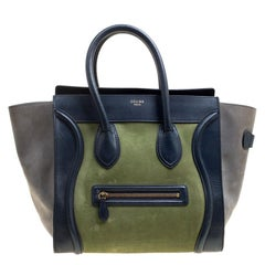 Celine Tri Color Leather and Nubuck Leather Mini Luggage Tote