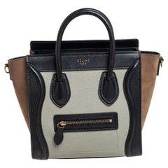 Celine Tri Color Leather and Nubuck Nano Luggage Tote