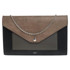 Celine Tri Color Leather and Patent Leather Pocket Clutch on Chain