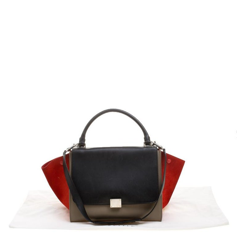 25302ed9449b Celine Tri Color Leather and Suede Medium Trapeze Bag For Sale at ...