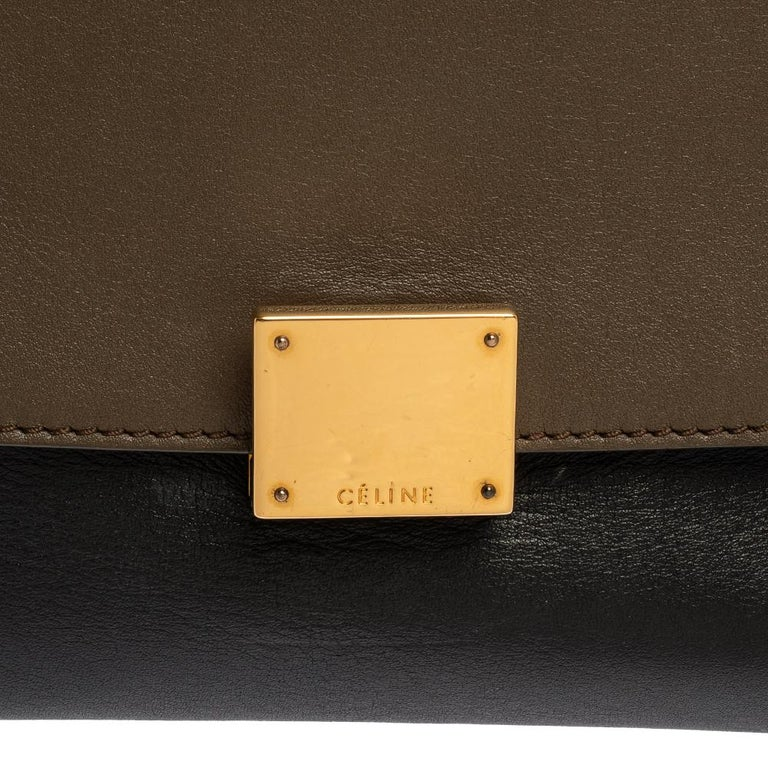 Celine Tri Color Leather and Suede Medium Trapeze Bag For Sale 6