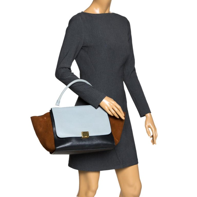 Gray Celine Tri Color Leather and Suede Medium Trapeze Bag For Sale