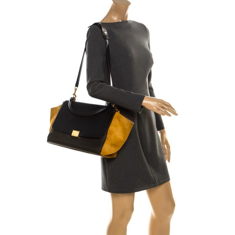 Black Celine Tri Color Leather and Suede Medium Trapeze Bag For Sale