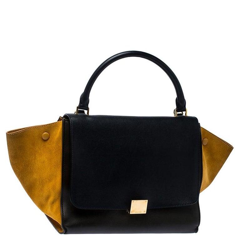 Celine Tri Color Leather and Suede Medium Trapeze Bag In Good Condition For Sale In Dubai, Al Qouz 2