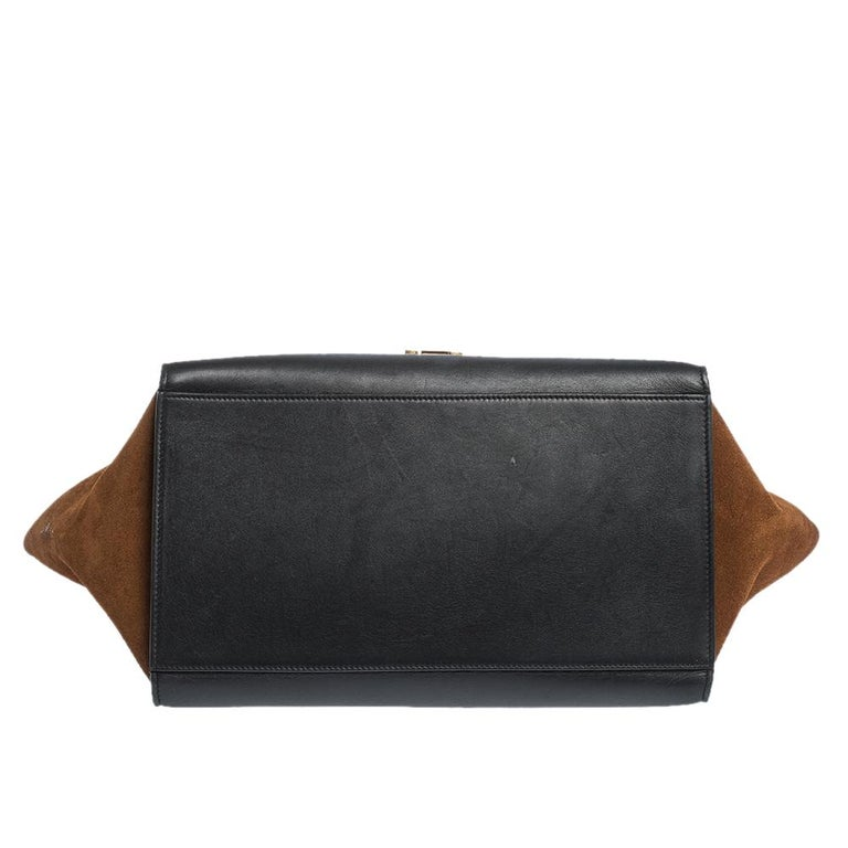Women's Celine Tri Color Leather and Suede Medium Trapeze Bag For Sale