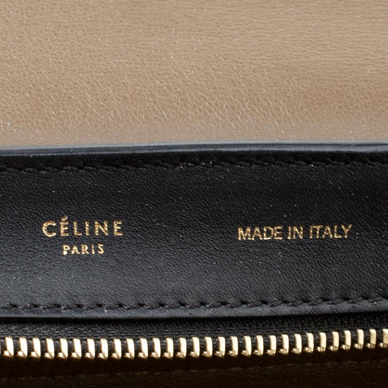 Celine Tri Color Leather and Suede Medium Trapeze Bag For Sale 1