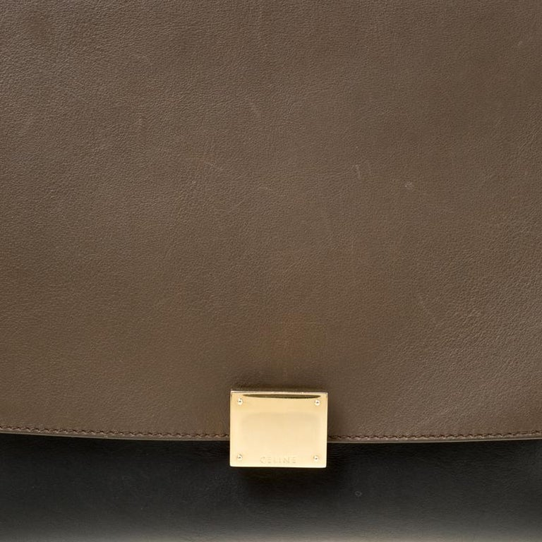 Celine Tri Color Leather and Suede Medium Trapeze Bag For Sale 2