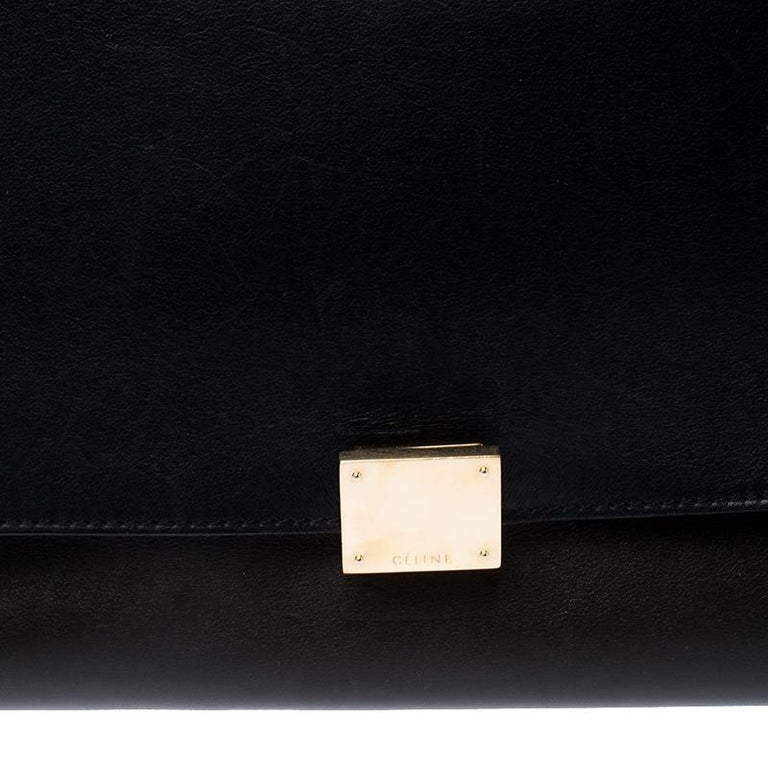 Celine Tri Color Leather and Suede Medium Trapeze Bag For Sale 3