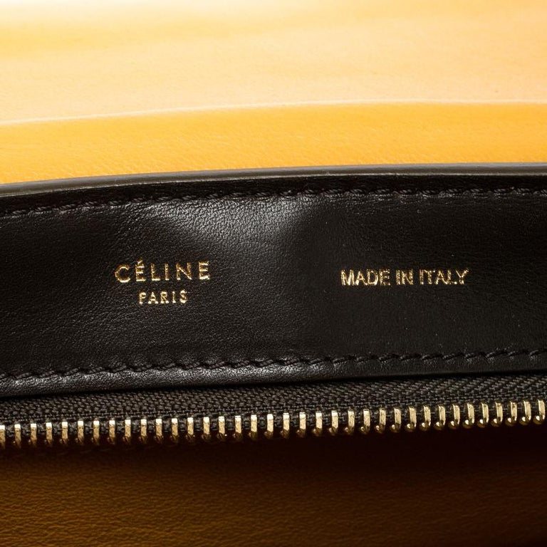 Celine Tri Color Leather and Suede Medium Trapeze Bag For Sale 4