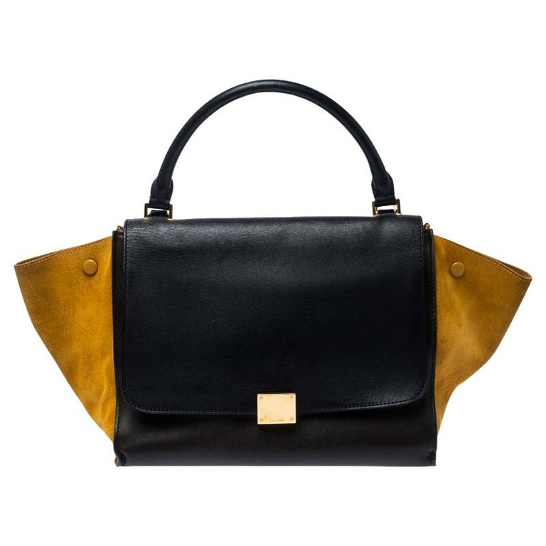 Celine Tri Color Leather and Suede Medium Trapeze Bag For Sale