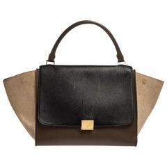 Celine Tri Color Leather and Suede Medium Trapeze Bag