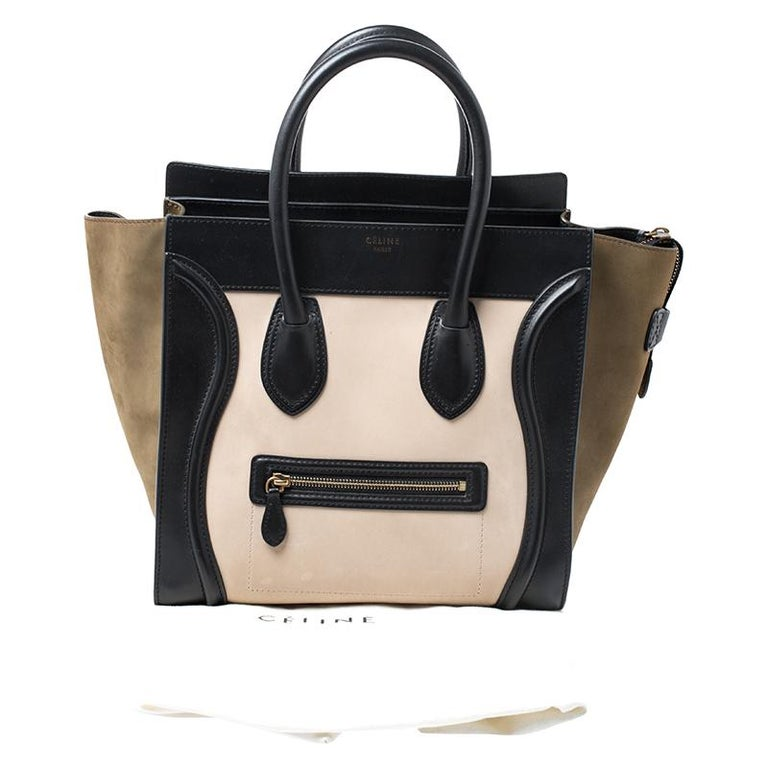Celine Tri Color Leather and Suede Mini Luggage Tote For Sale 6