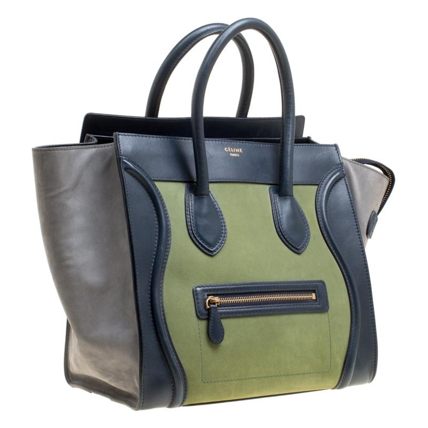Celine Tri Color Leather and Suede Mini Luggage Tote For Sale at 1stdibs 9cd6761047379