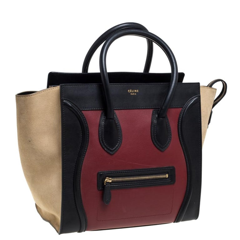 Black Celine Tri Color Leather and Suede Mini Luggage Tote For Sale