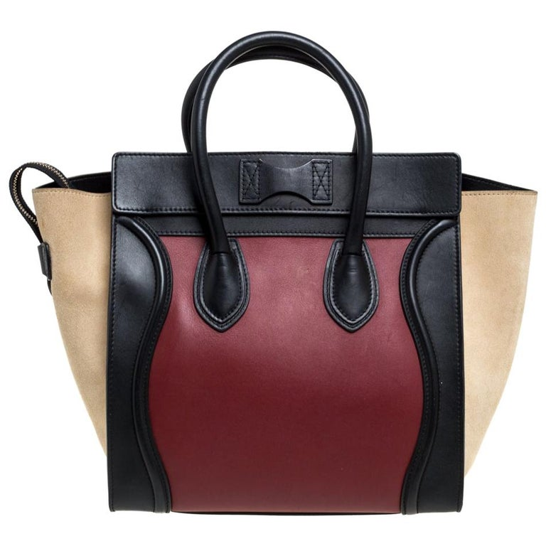 Celine Tri Color Leather and Suede Mini Luggage Tote For Sale