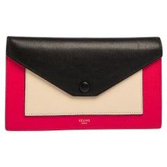 Celine Tri Color Leather Envelope Clutch