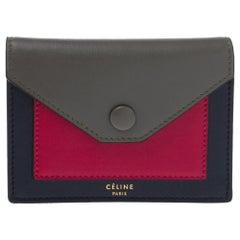 Celine Tri Color Leather Envelope Pocket Card Holder