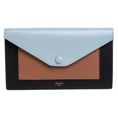 Celine Tri Color Leather Large Pocket Flap Clutch
