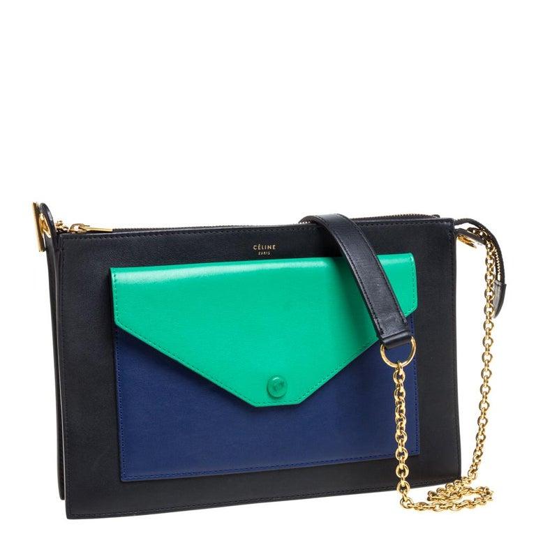 Celine Tri Color Leather Medium Pocket Chain Shoulder Bag In Good Condition For Sale In Dubai, Al Qouz 2