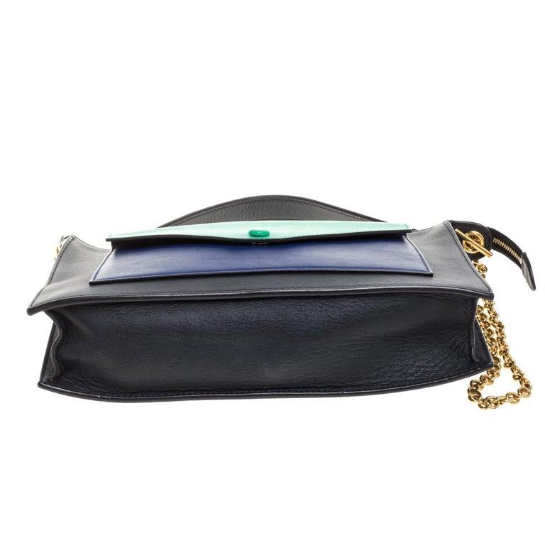 Women's Celine Tri Color Leather Medium Pocket Chain Shoulder Bag For Sale