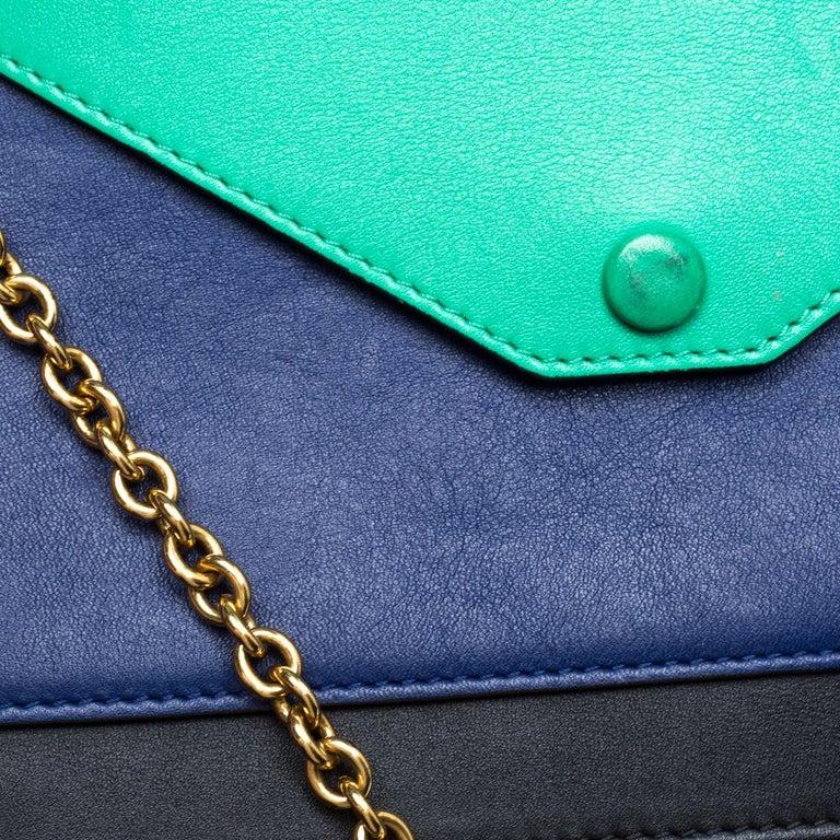 Celine Tri Color Leather Medium Pocket Chain Shoulder Bag For Sale 1