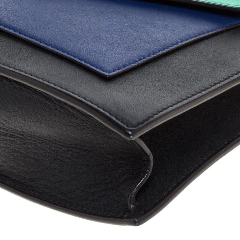 Celine Tri Color Leather Medium Pocket Chain Shoulder Bag For Sale 2