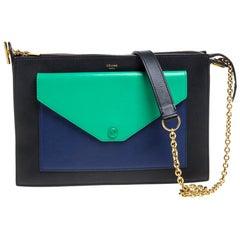 Celine Tri Color Leather Medium Pocket Chain Shoulder Bag