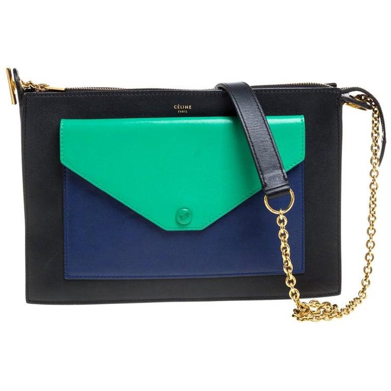 Celine Tri Color Leather Medium Pocket Chain Shoulder Bag For Sale