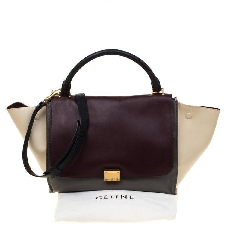 Celine Tri Color Leather Medium Trapeze Bag For Sale 8