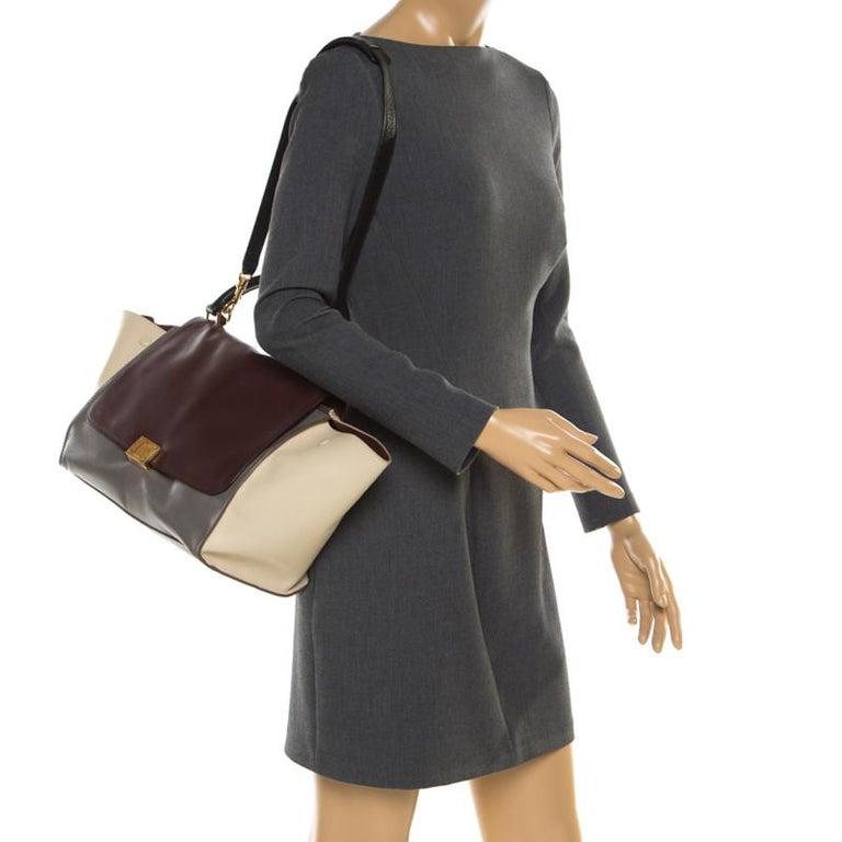Black Celine Tri Color Leather Medium Trapeze Bag For Sale