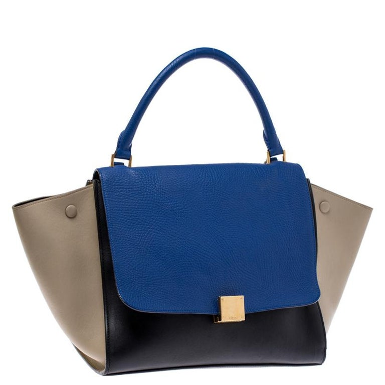 Celine Tri Color Leather Medium Trapeze Bag In Good Condition For Sale In Dubai, Al Qouz 2