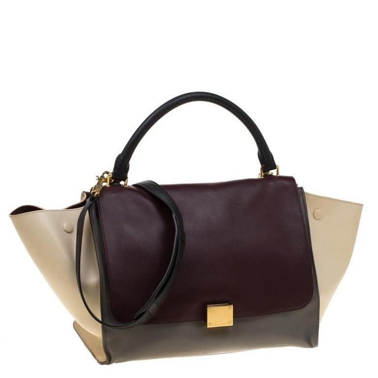 Celine Tri Color Leather Medium Trapeze Bag In Good Condition For Sale In Dubai, Al Qouz 2