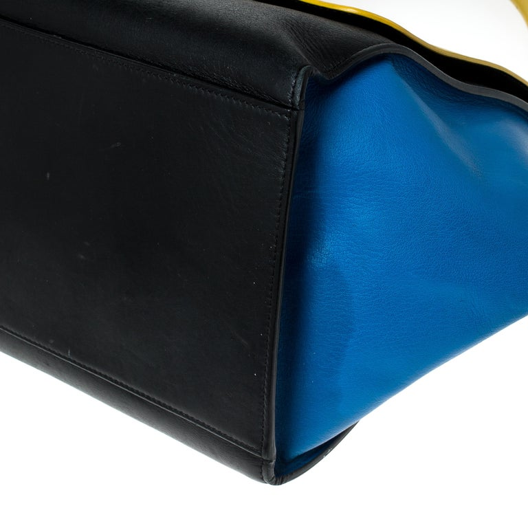 Celine Tri Color Leather Medium Trapeze Bag For Sale 1