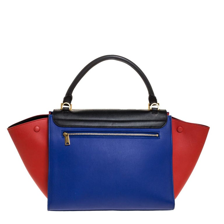 Celine Tri Color Leather Medium Trapeze Bag For Sale 2