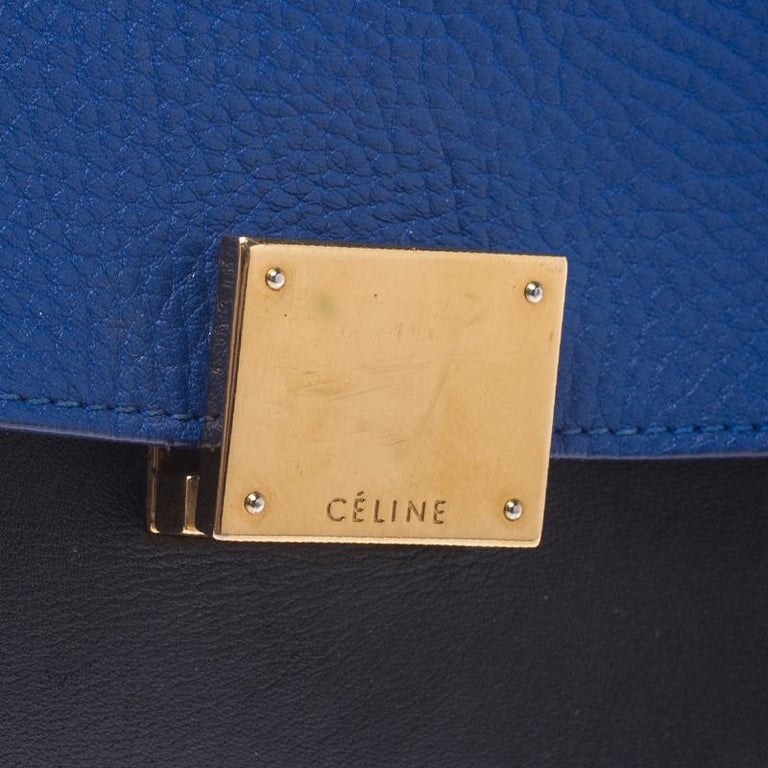 Celine Tri Color Leather Medium Trapeze Bag For Sale 4