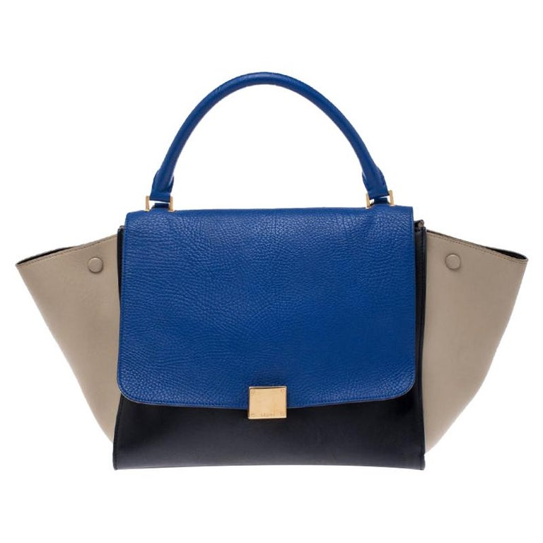Celine Tri Color Leather Medium Trapeze Bag For Sale