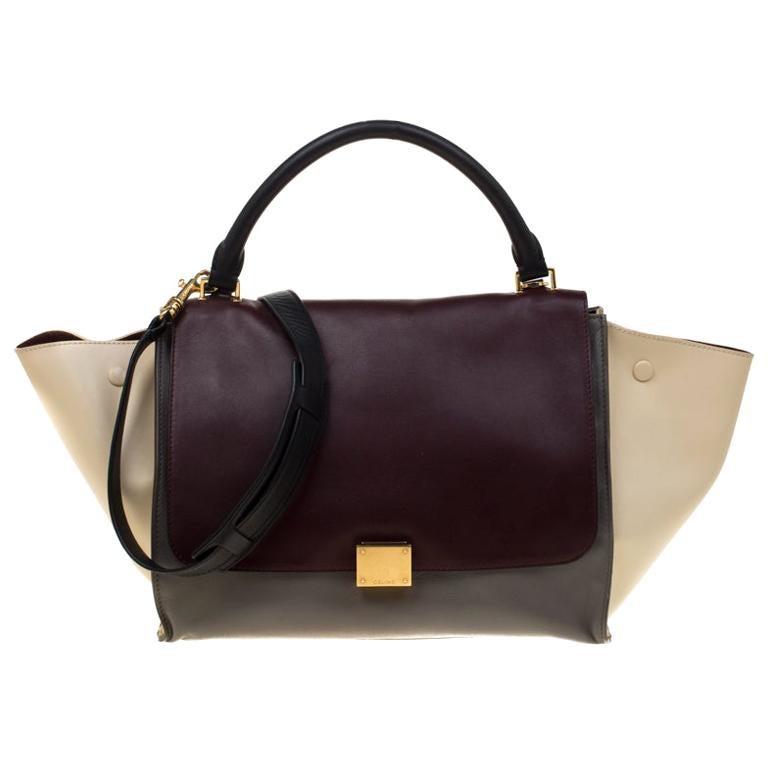 Celine Tri Color Leather Medium Trapeze Bag For Sale