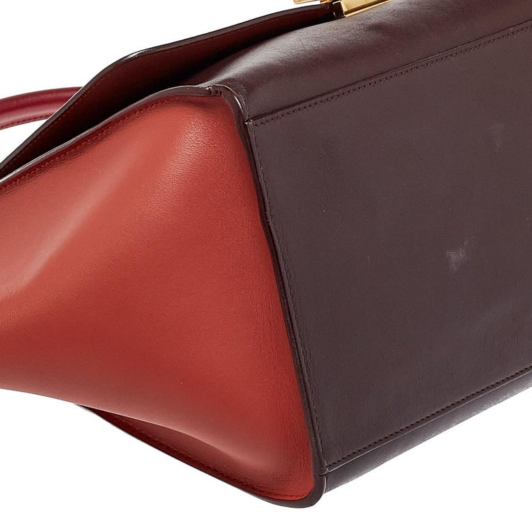 Celine Tri Color Leather Medium Trapeze Top Handle Bag For Sale 5
