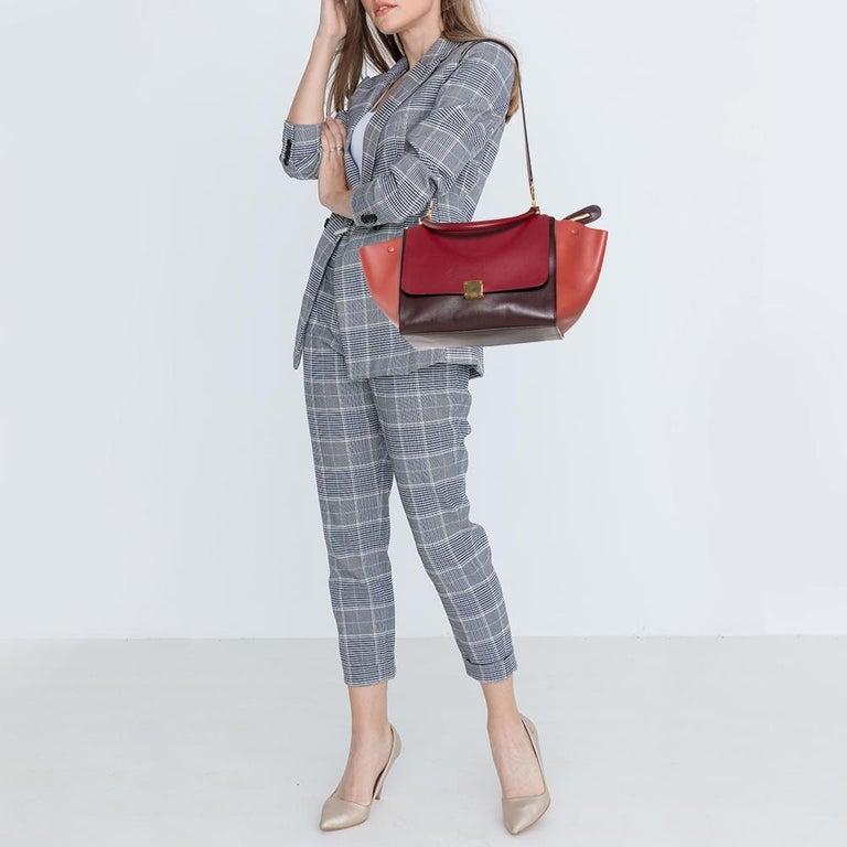 Red Celine Tri Color Leather Medium Trapeze Top Handle Bag For Sale