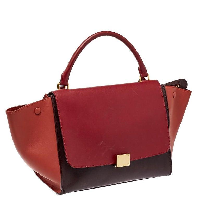 Celine Tri Color Leather Medium Trapeze Top Handle Bag In Good Condition For Sale In Dubai, Al Qouz 2