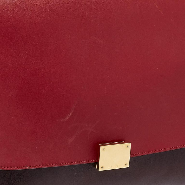 Celine Tri Color Leather Medium Trapeze Top Handle Bag For Sale 1
