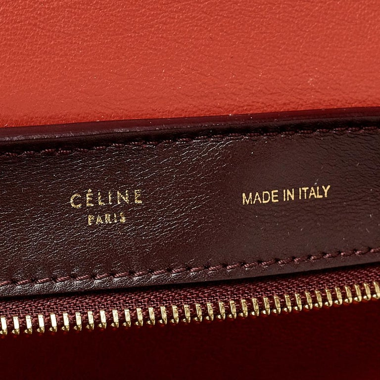 Celine Tri Color Leather Medium Trapeze Top Handle Bag For Sale 3