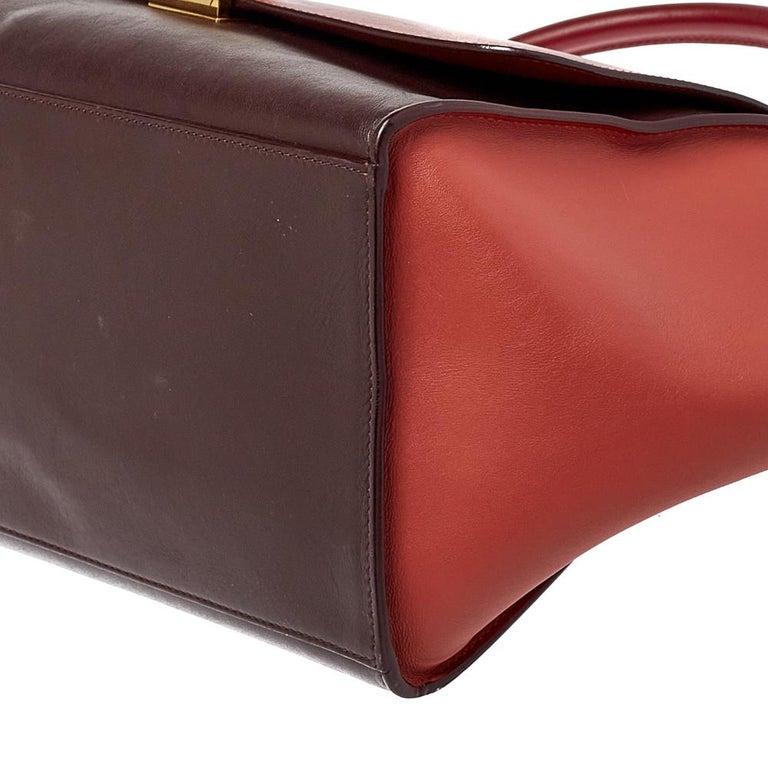 Celine Tri Color Leather Medium Trapeze Top Handle Bag For Sale 4