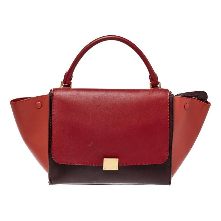 Celine Tri Color Leather Medium Trapeze Top Handle Bag For Sale