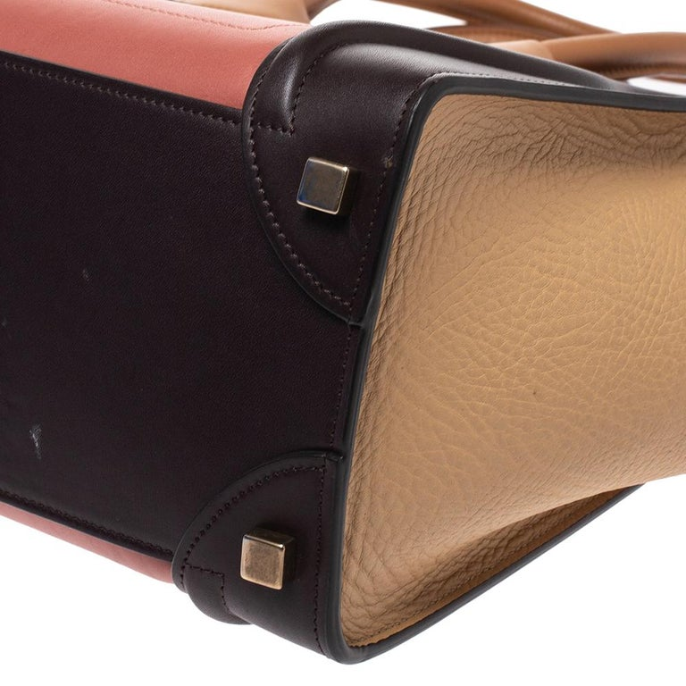 Celine Tri Color Leather Micro Luggage Tote For Sale 6