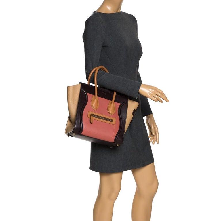 Celine Tri Color Leather Micro Luggage Tote In Good Condition For Sale In Dubai, Al Qouz 2