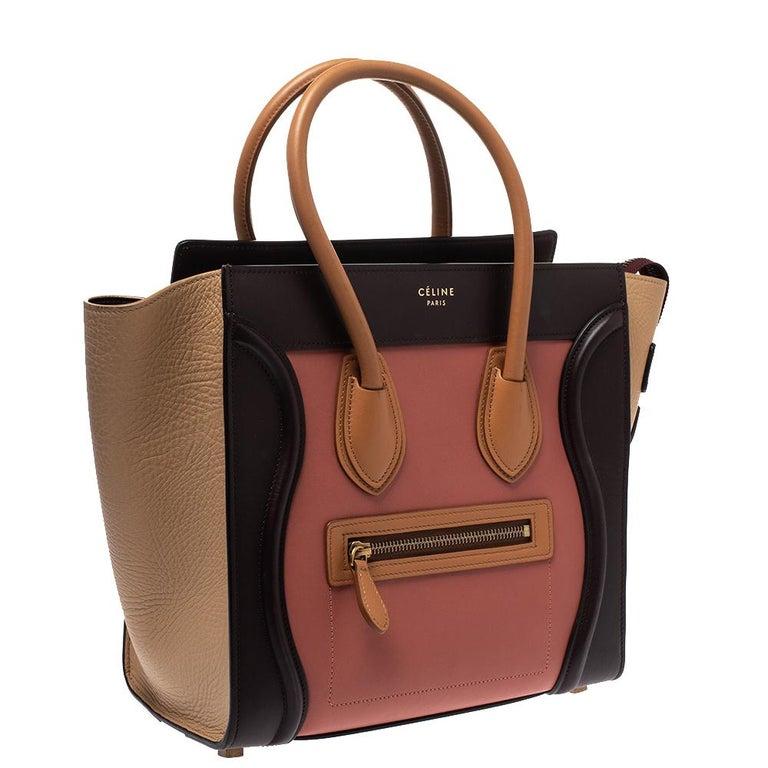 Women's Celine Tri Color Leather Micro Luggage Tote For Sale