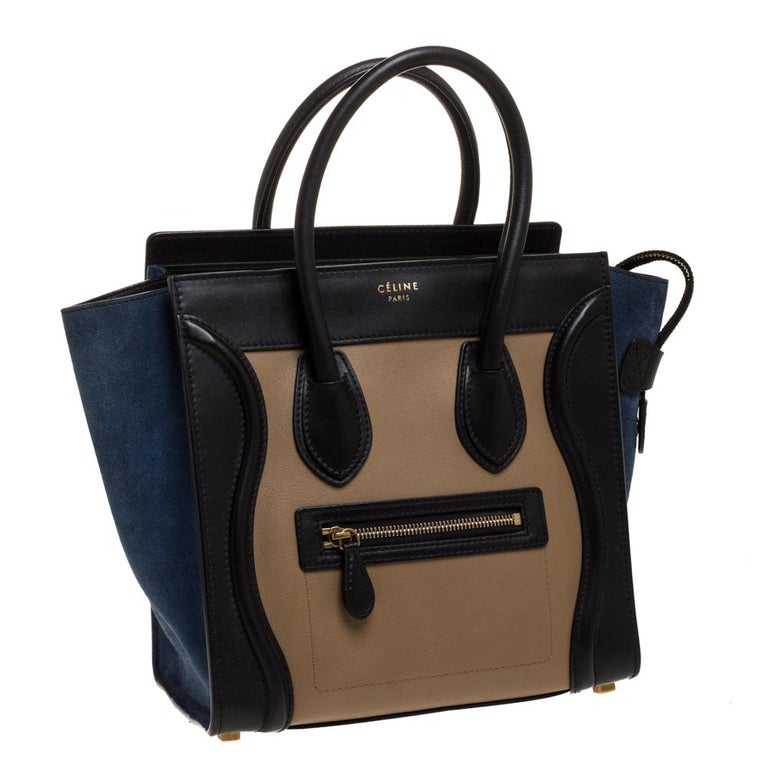Celine Tri Color Leather Micro Luggage Tote In Good Condition For Sale In Dubai, Al Qouz 2