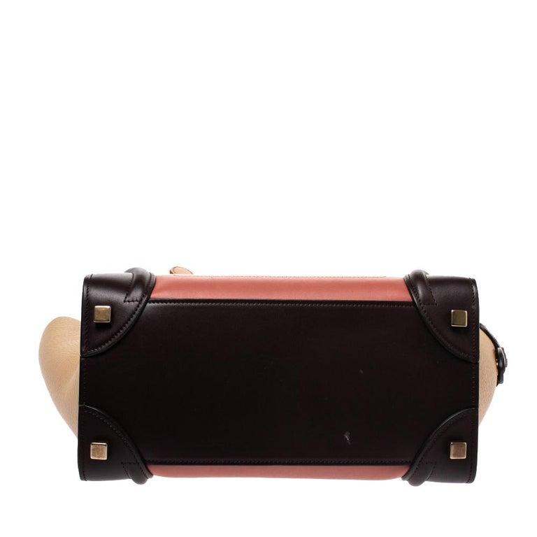 Celine Tri Color Leather Micro Luggage Tote For Sale 1